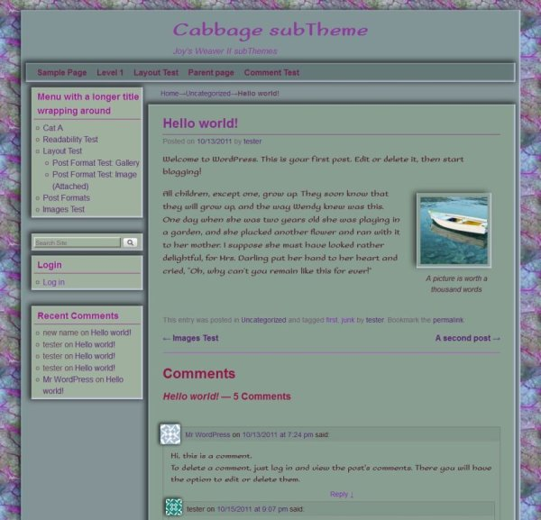 Cabbage subTheme-Hello world
