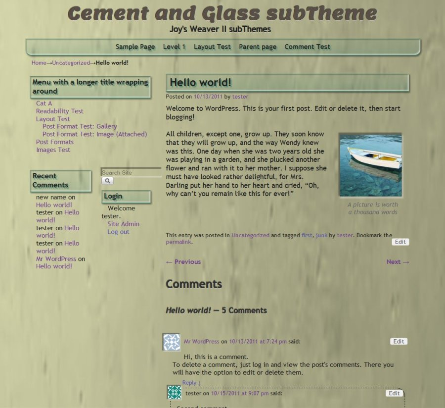 Cement and Glass subTheme-Hello world