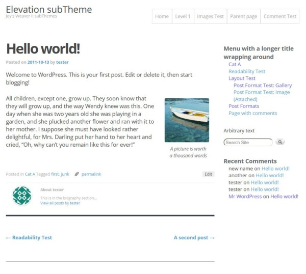 Elevation subTheme-Hello world