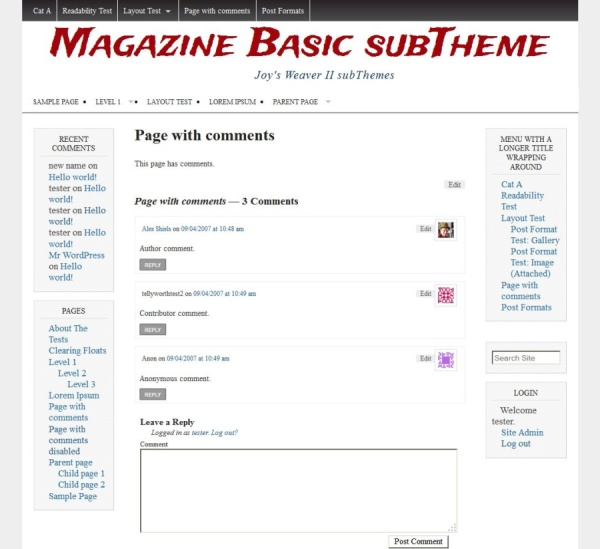 Magazine Basic subTheme-Page with comments
