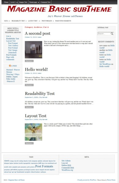 Magazine Basic subTheme WeaverX-Category