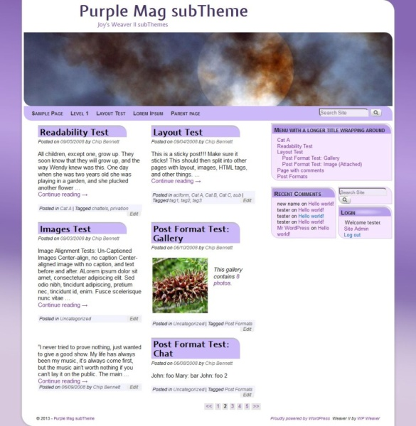 Purple Mag subTheme-Blog
