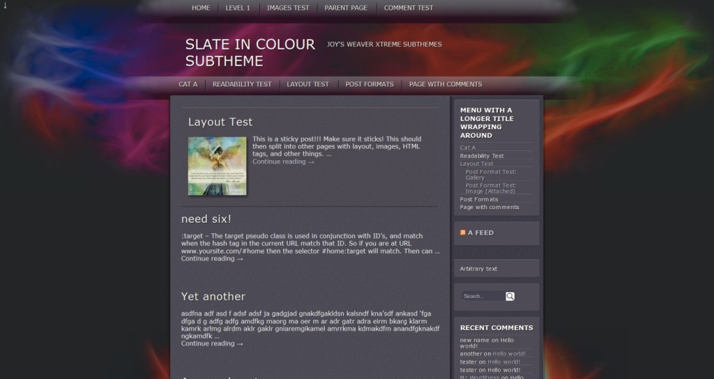 Slate in Colour subTheme WeaverX-Blog top